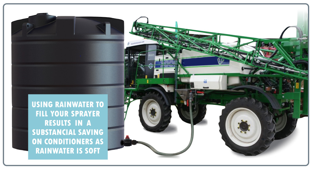 Rainwater Harvesting system filling an Agricultural sprayer on Farm